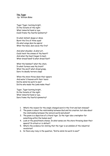 """""""The Tyger"""" poem and questions."""