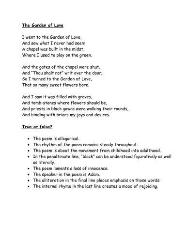 """The Garden of Love"" Blake. True/false quiz."