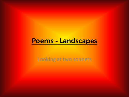 Landscapes in two sonnets - poems and activities