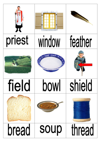 Irregular spellings word and picture cards.