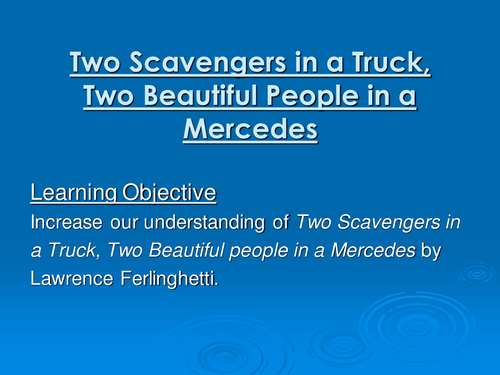 essay on two scavengers in a truck