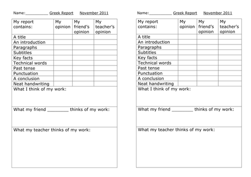Self / peer / teacher assessment