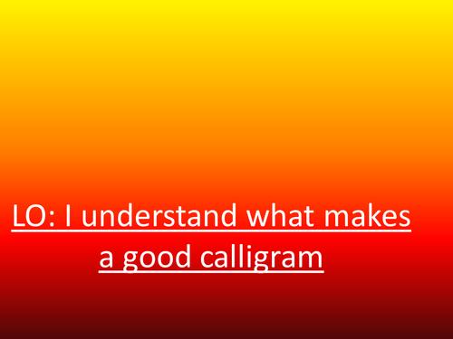Introduction Calligram (Concrete Poetry)
