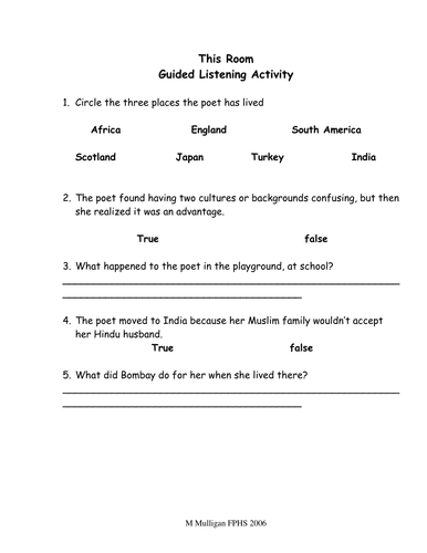 This room guided listening task