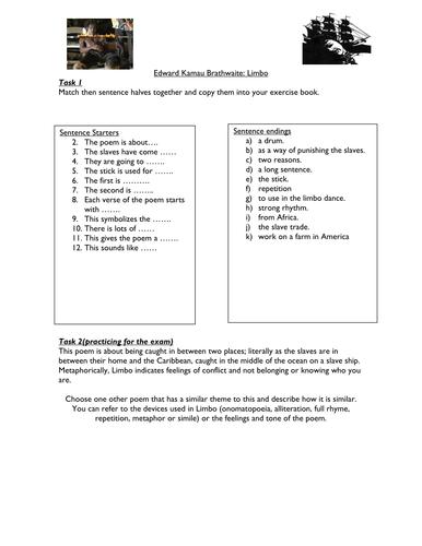 Limbo activities to analyze the poem