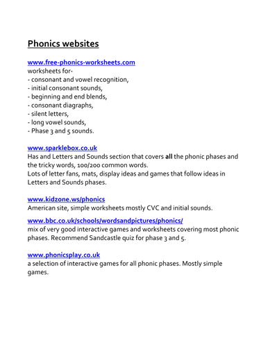 List of good phonic websites