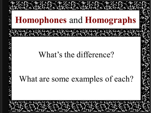 Homophones and Homographs PowerPoint