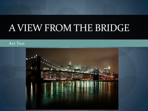 a view from the bridge 22 essay A view from the bridge, based loosely on a real-life incident, describes the upheaval in the home of eddie carbone (mark strong), a career longshoreman who lives with his wife, beatrice (nicola.