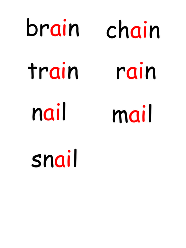 ai/ay phoneme match - pictures and words