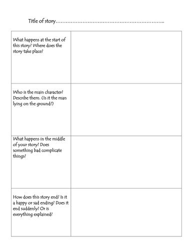 A grid to help plan stories.