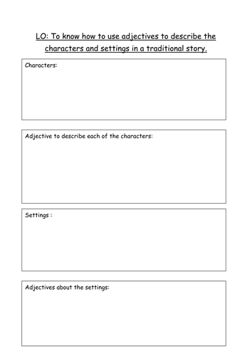 LO: To know how to use adjectives about characters