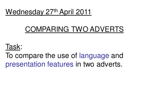 Comparing two media texts