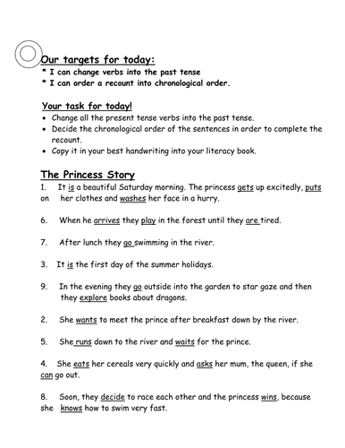 Using the PAST TENSE to recount a story