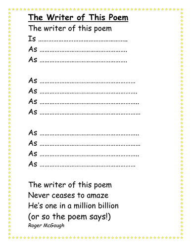The Writer of this Poem template