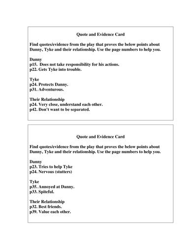 The Turbulent Term of Tyke Tiler - Character Card Sort