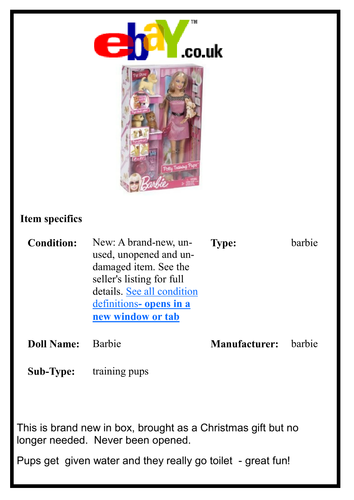 E-bay Advertizement - Unwanted Christmas Presents!