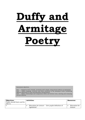 Lesson Plans - Duffy and Armitage