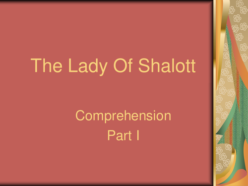 Lady Of Shalott Comprehension