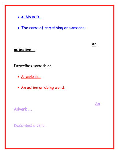 Nouns; Adverbs; and Adjectives PowerPoint