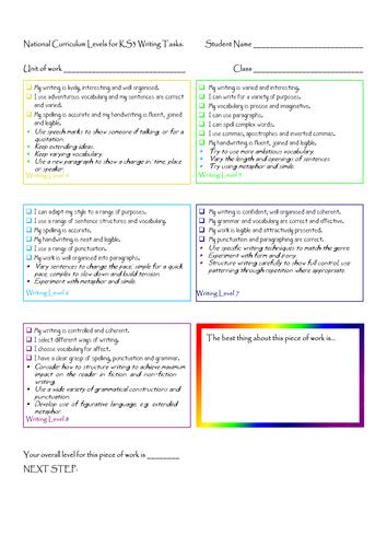 Target Setting Sheets English