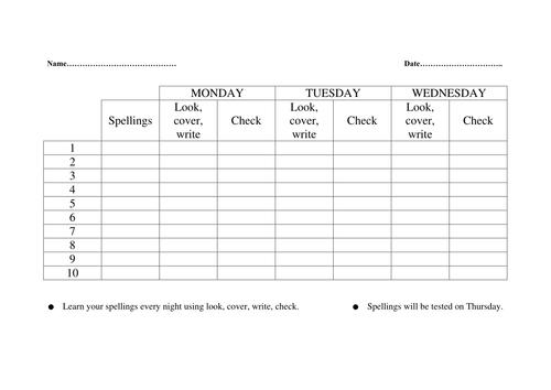 Spelling check sheet