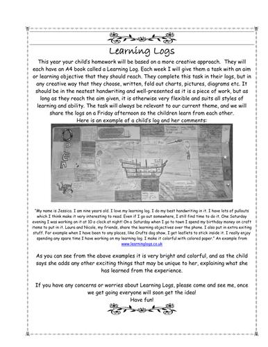 Learning Logs Letter
