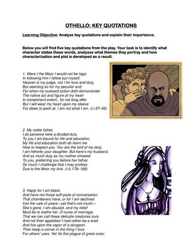 Othello: analyzing key quotes