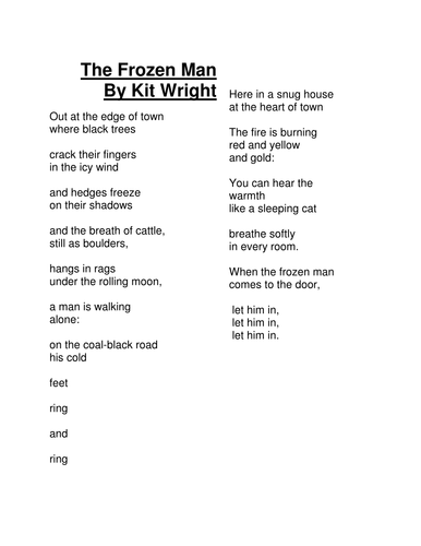 The Frozen Man Poem by Kit Wright
