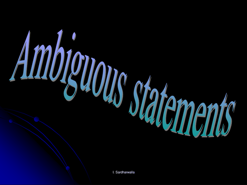Ambiguous Statement