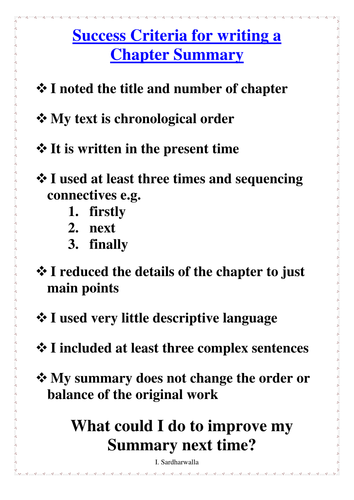 success criteria for writing a book report