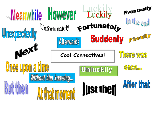 'Cool connectives' colorful word mat