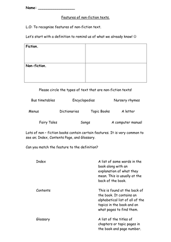 Features of Non-fiction texts (Information)