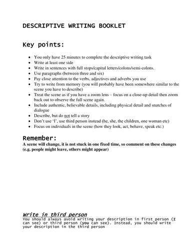 Descriptive Writing Booklet