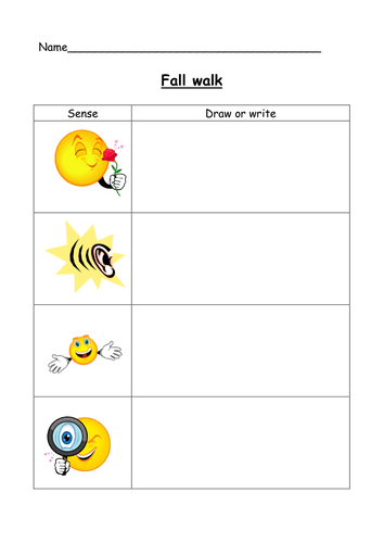 Fall walk senses recording sheet