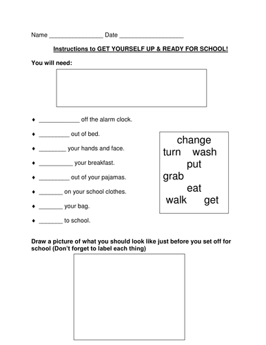 Instructions:How to Get  Up & Ready for School!