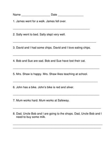 Changing Nouns to Pronouns Activity