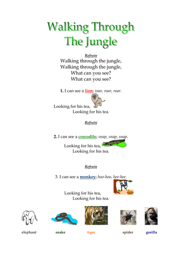 Jungle Animal Song & Bingo