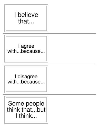 Speaking and Listening Sentence starters