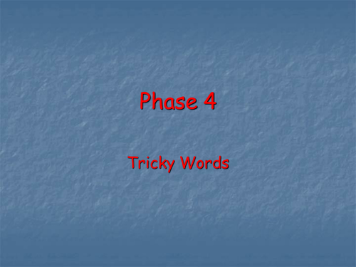 Tricky words PowerPoint