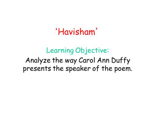 'Havisham' Poetry Analysis