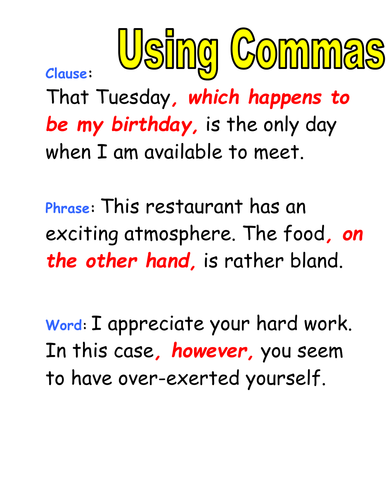 Using commas in a list