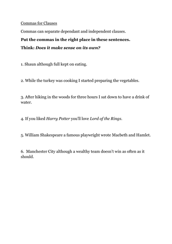 Commas for lists and clauses