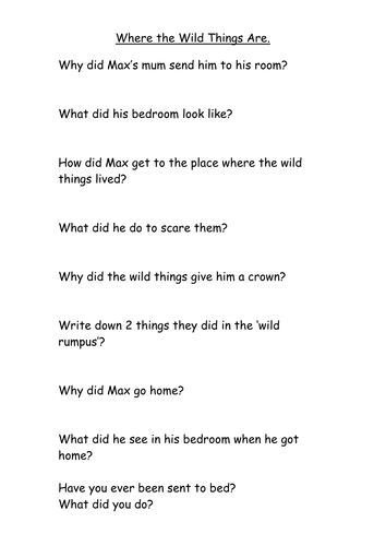 Where the Wild Things Are - resources