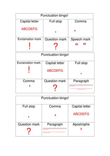 Punctuation bingo