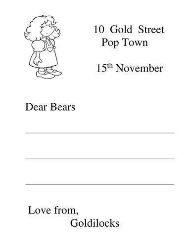 Writing Frame: Letter from Goldilocks to 3 Bears