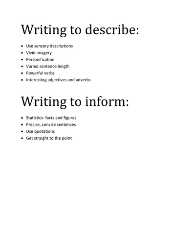 Writing to describe and inform