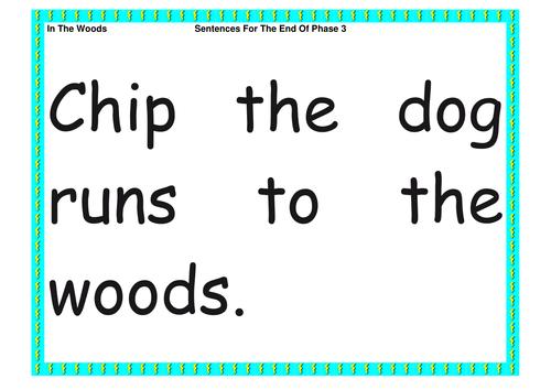 In the Woods sentences/simple sentences