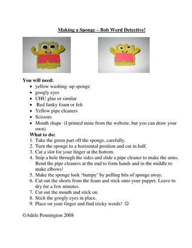 Instructions to make a sponge-bob puppet