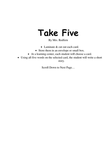 Take Five Story Starter