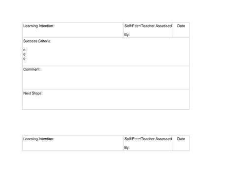 Assessment Feedback Sheet